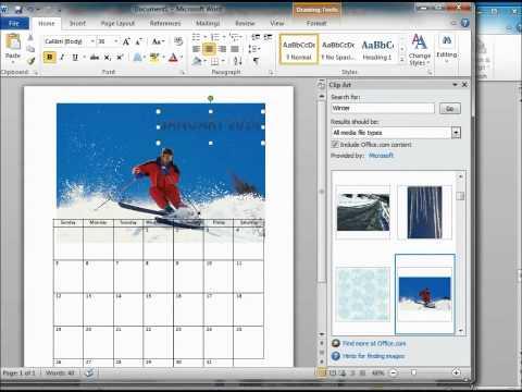 How to make a Calendar using Microsoft word 2010