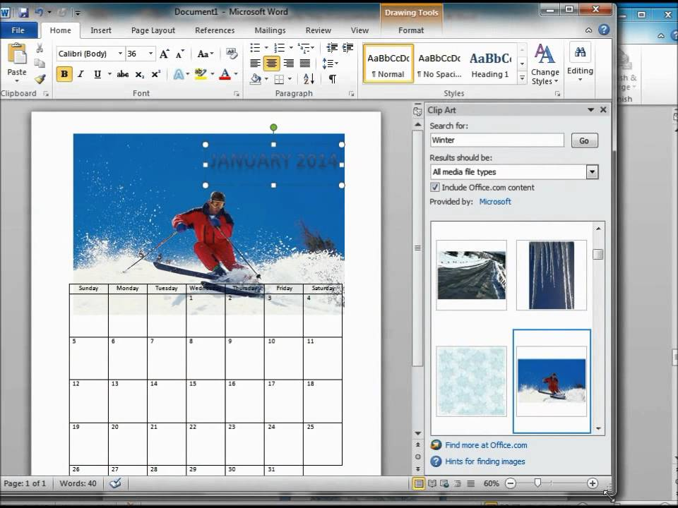 How To Make A Calendar Using Microsoft Word 2010 - Youtube