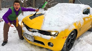 Funny Mr. Joe found Chevy Camaro in Snow & Brushed Snow & Started Winter Race for Kids