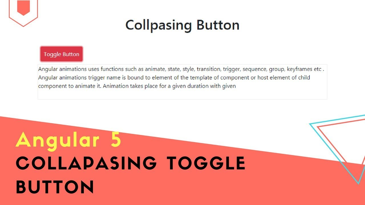 Angular 5 Animation Collapsing Toggle Button Example