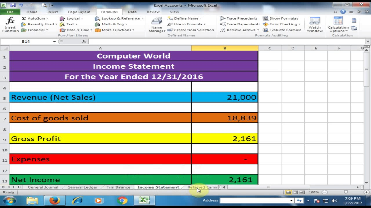 General Journal, General Ledger, Trial Balance, Income Statement and  Balance Sheet in Excel