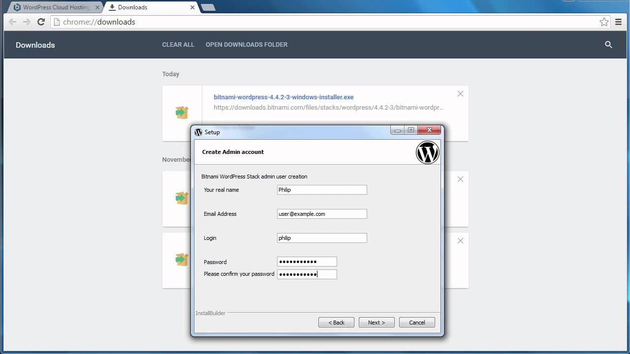 Install Bitnami WordPress local host web server