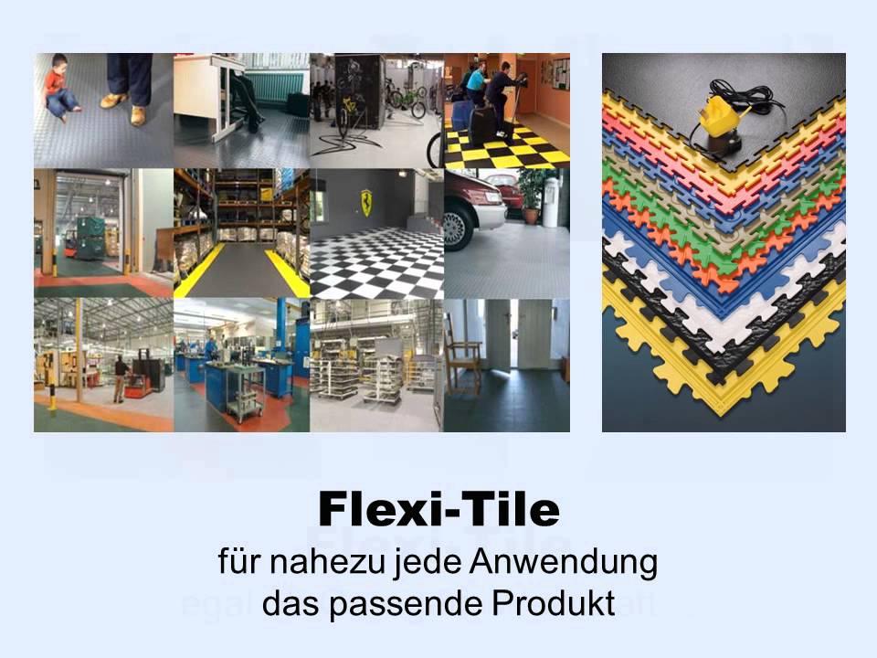 video zu flexi tile pvc bodenbelag f r garage werkstatt. Black Bedroom Furniture Sets. Home Design Ideas