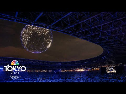Dazzling drone display during Olympic Opening Ceremony   Tokyo Olympics   NBC Sports