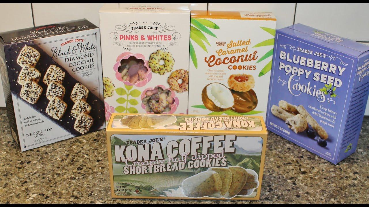 Trader Joe S Cookies Black White Pinks Whites Salted Caramel Coconut Blueberry Kona Coffee Youtube