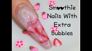 Encapsulated Fruit Nails | Bubble Nails | Acrylic Nails | Instagram Nails | Starbucks Pink Drink