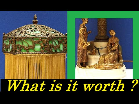 Karl KAUBA Signed T Curts Austrian Bronze Lamp With Stained Glass Shade & What It Is Worth