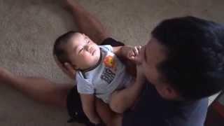 Cute baby falls asleep | Daddy swings baby to sleep