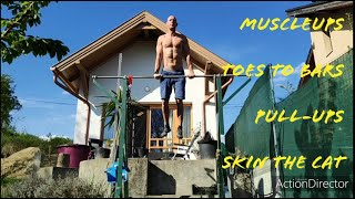 Pullup bar workout in the garden