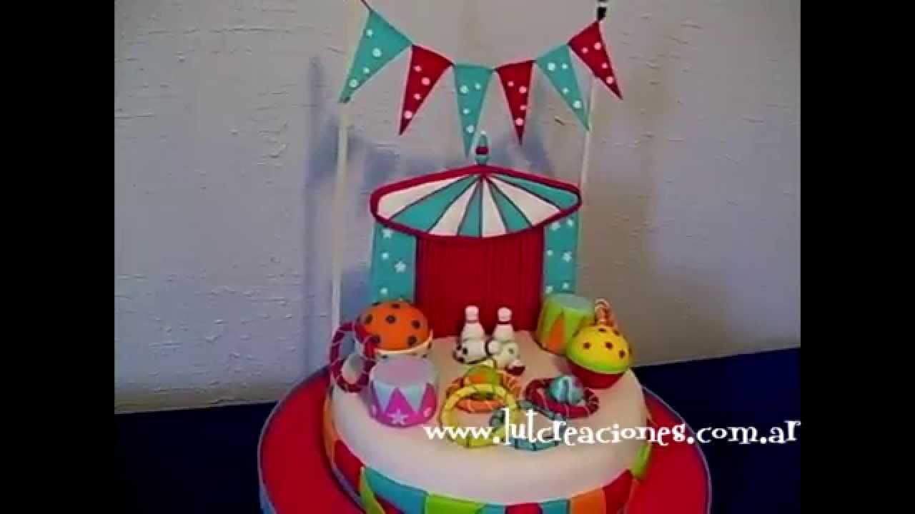Torta decorada el circo lut creaciones tortas decoradas for Como decorar una torta infantil