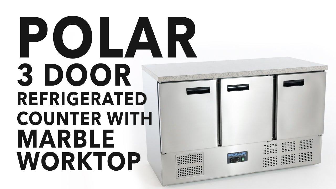 Polar 3 Door Counter Fridge with Marble Worktop  sc 1 st  YouTube & Polar 3 Door Counter Fridge with Marble Worktop - YouTube