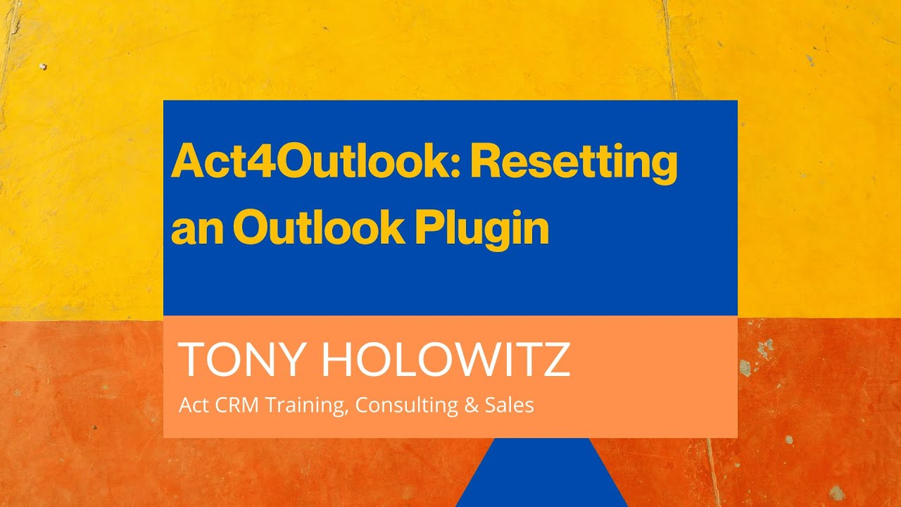 Restarting Act4Outlook in Microsoft Outlook