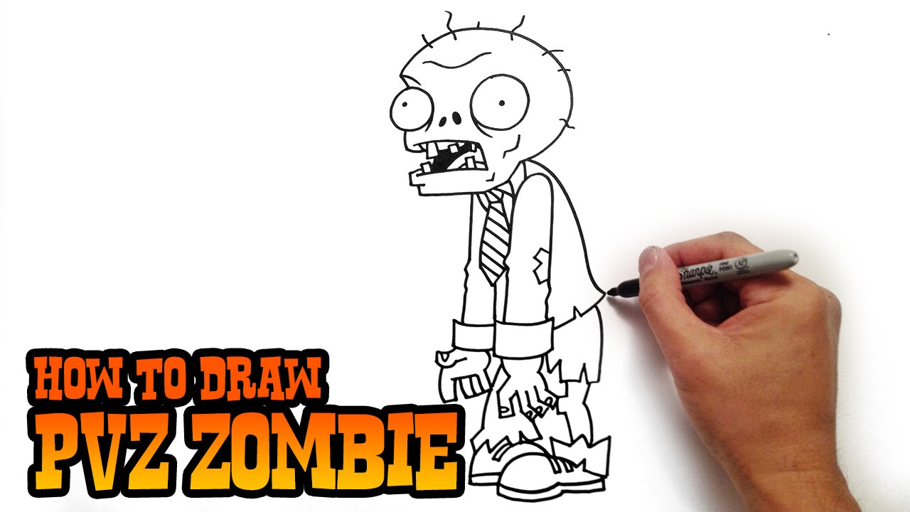 Uncategorized Simple Zombie Drawing how to draw a zombie from plants vs zombies youtube
