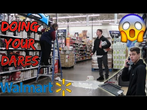 DOING YOUR DARES IN WALMART 5 (GALLON SMASH NEAR WORKER!)