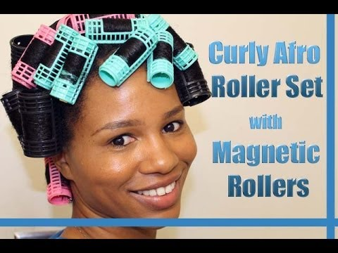 """""""Curly Afro Spiral Curls"""" Roller Set on Natural Hair Using Magnetic Rollers"""