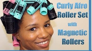 "How to Roller Set Natural Hair Using Magnetic Rollers / ""Curly Afro Spiral Curls"""
