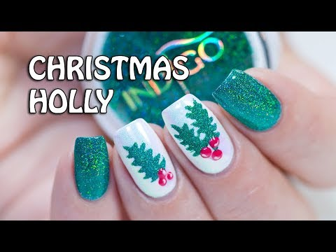 Christmas Holly Nail Art Indigo Holo Effect Glitters Youtube