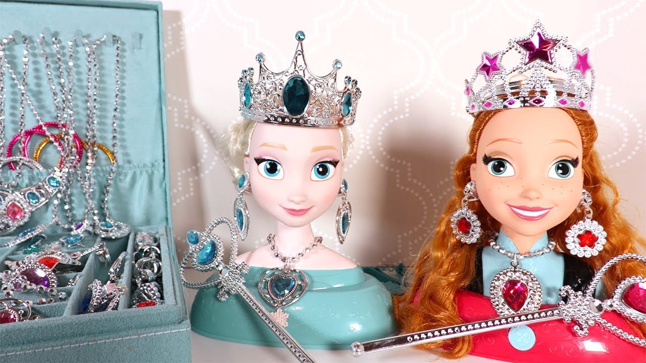 reine des neiges elsa anna t te coiffer bijoux frozen elsa styling head youtube. Black Bedroom Furniture Sets. Home Design Ideas