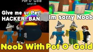 Noob Disguise With Pot O' Gold Secret Pet! Noob Hacker? Trolling - Bubble Gum Simulator