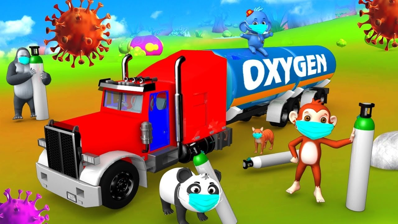 Giant Monster Truck Oxygen Tanker Transporter | Funny Animal Videos in Forest | Comedy 3D Cartoons