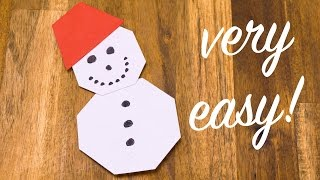 Origami SNOWMAN folding tutorial, EASY crafting with paper for KIDS