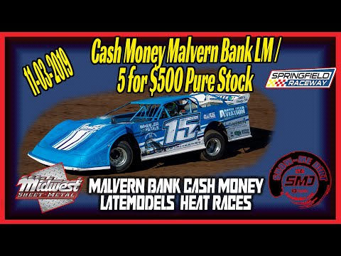 Payton Looney Cash Money Late models Heat Races Springfield Raceway 11➜03➜2019  Dirt Track Racing