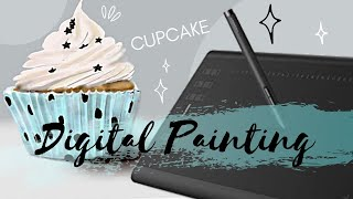💻 DIGITAL PAINTING Tablette Huion 1060Plus | Cupcake realistic