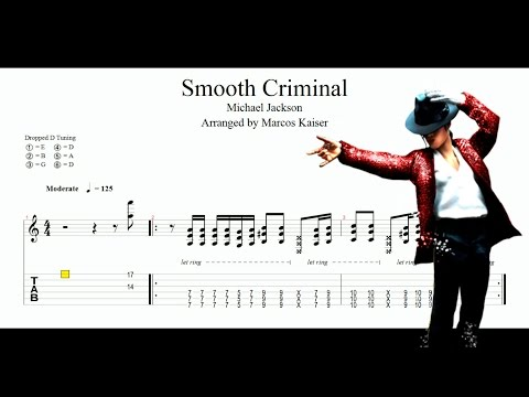 Smooth Criminal (Michael Jackson) - GUITAR TAB Solo Acoustic Guitar - sheet music
