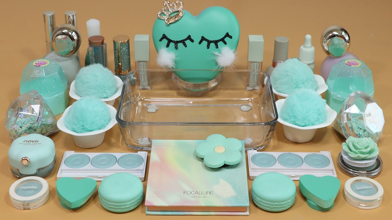 """Mixing""""Mint"""" Eyeshadow and Makeup,parts,glitter Into Slime!Satisfying Slime Video!★ASMR★"""