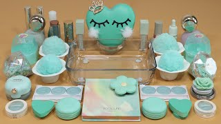 "Mixing""Mint"" Eyeshadow and Makeup,parts,glitter Into Slime!Satisfying Slime Video!★ASMR★"