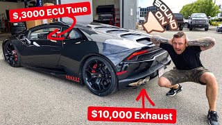 WHAT A $10,000 EXHAUST WITH $3,000 TUNE DOES TO LAMBORGHINI ... HOLY S#!%!