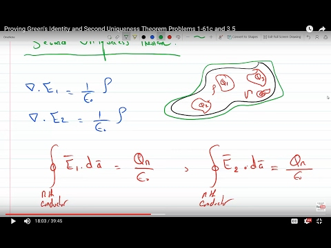 Proving Green's Identity and Second Uniqueness Theorem Problems 1-61c and 3.5