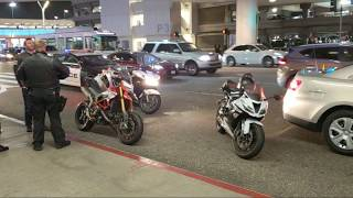 LAX  Airport police road rage 3 motorcycles after a lyft driver at Los Angeles International Airport