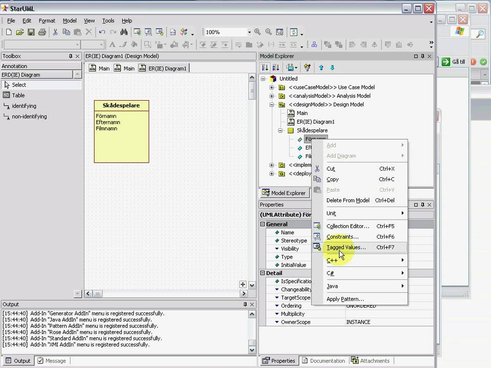 how to draw database diagram gram positive cell wall entity relationship in staruml youtube