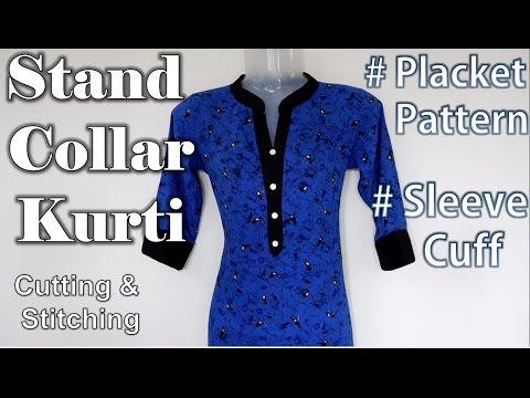 Stand Collar Kurti with Placket Pattern | Cuff Sleeve