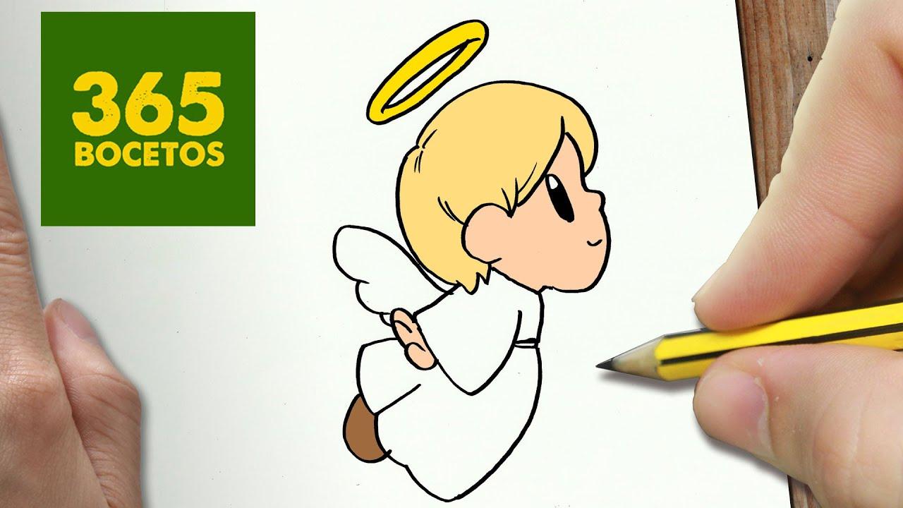Como Dibujar Un Angel Para Navidad Paso A Paso Dibujos Kawaii Navideños How To Draw A Angel