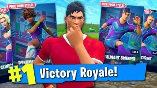 32 SKINS IN ONE PURCHASE ON FORTNITE! (Customisable World Cup Skins Gameplay)