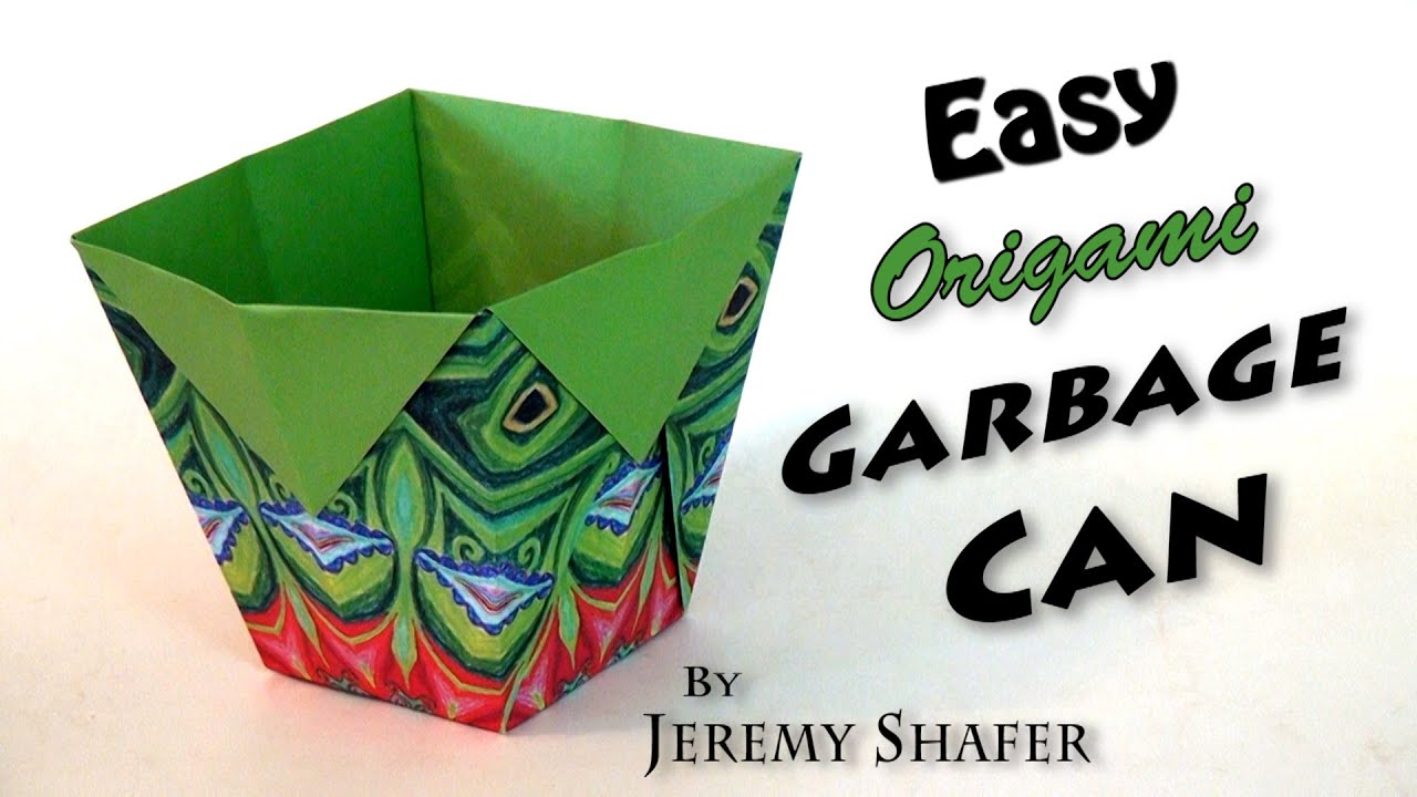 Easy Origami Garbage Can Youtube