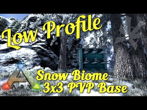 Snow Biome 3x3 PVP Base! | Low Profile PVP Build Guide | ARK: Survival Evolved