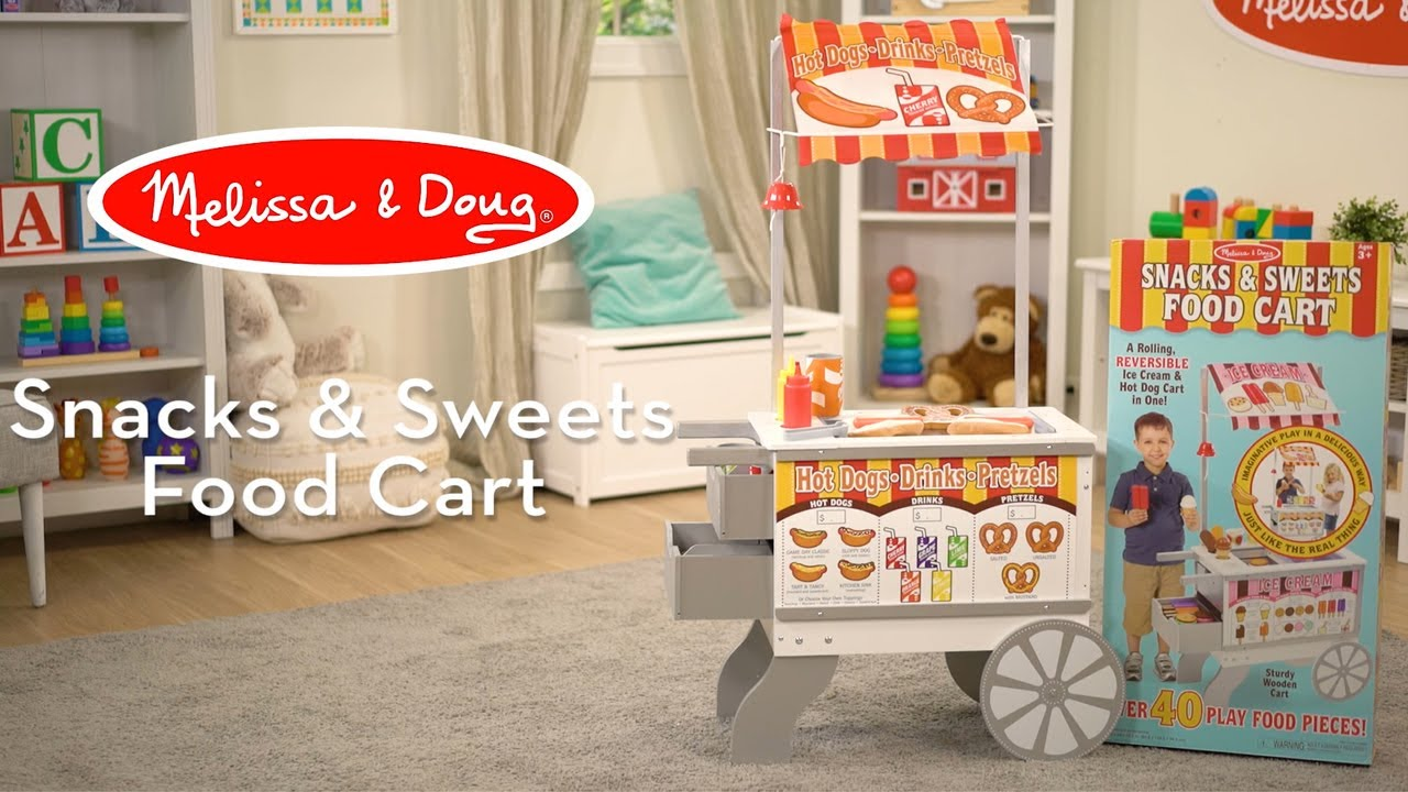 Melissa Doug Wooden Snacks Sweets Food Cart 2 In 1 Play Set For Kids Countless Ways To Play