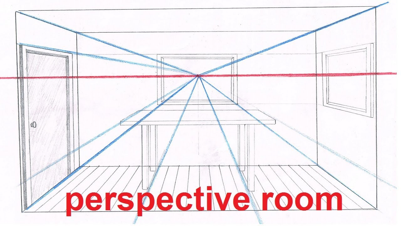 linear perspective drawing lesson 5 6 drawing a room in perspective tutorial 1 point. Black Bedroom Furniture Sets. Home Design Ideas