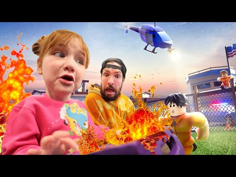 LAVA PRiSON ESCAPE!!  Adley App Review of Roblox game with Dad! pirate ship and cops obby Challenge