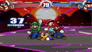 Super Mario & Super Luigi vs Fighting Mario & Fighting Luigi MUGEN Battle!!!