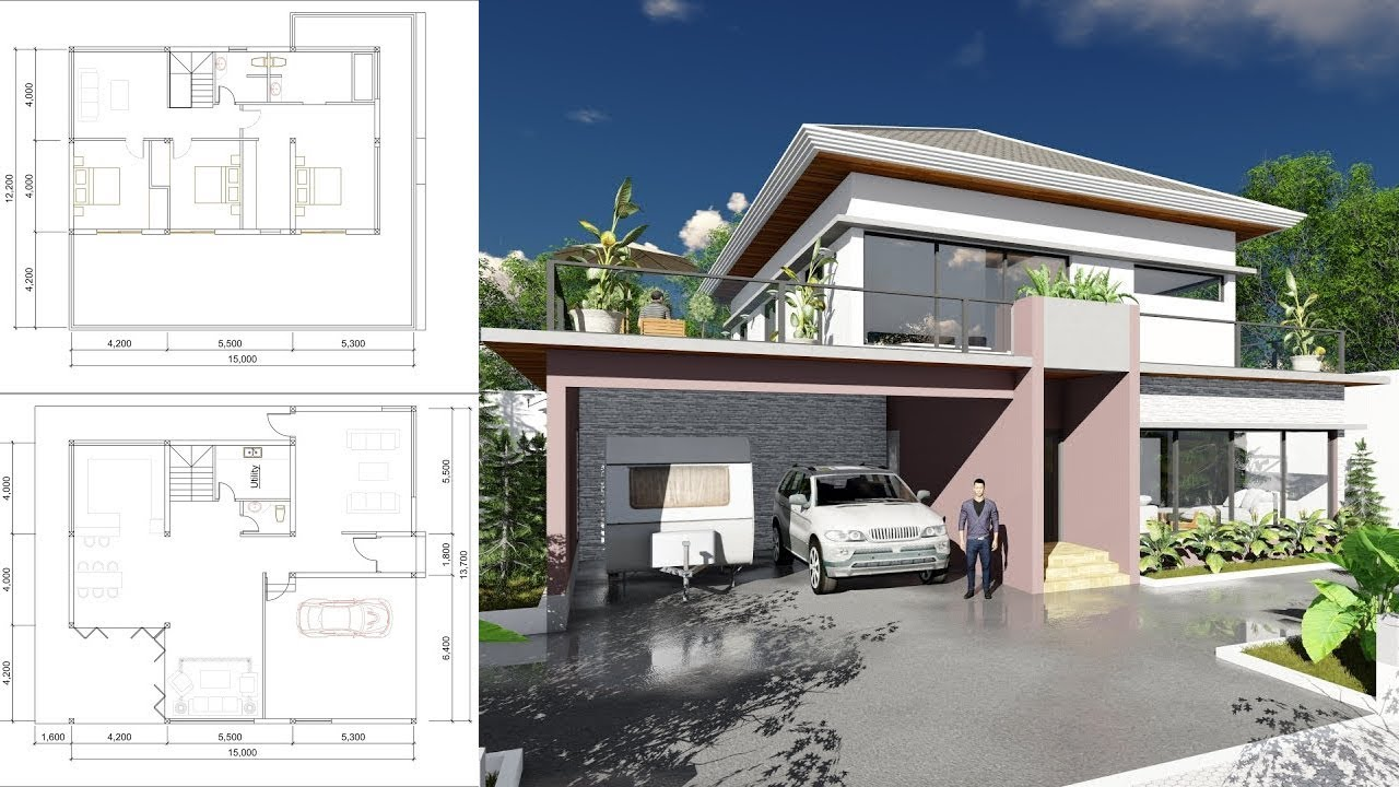 Sketchup Modeling 2 Stories Villa Design With 3 Bedroom