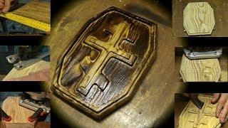 Крест в рамке Фрезером. Лиственница, обжиг, масло.