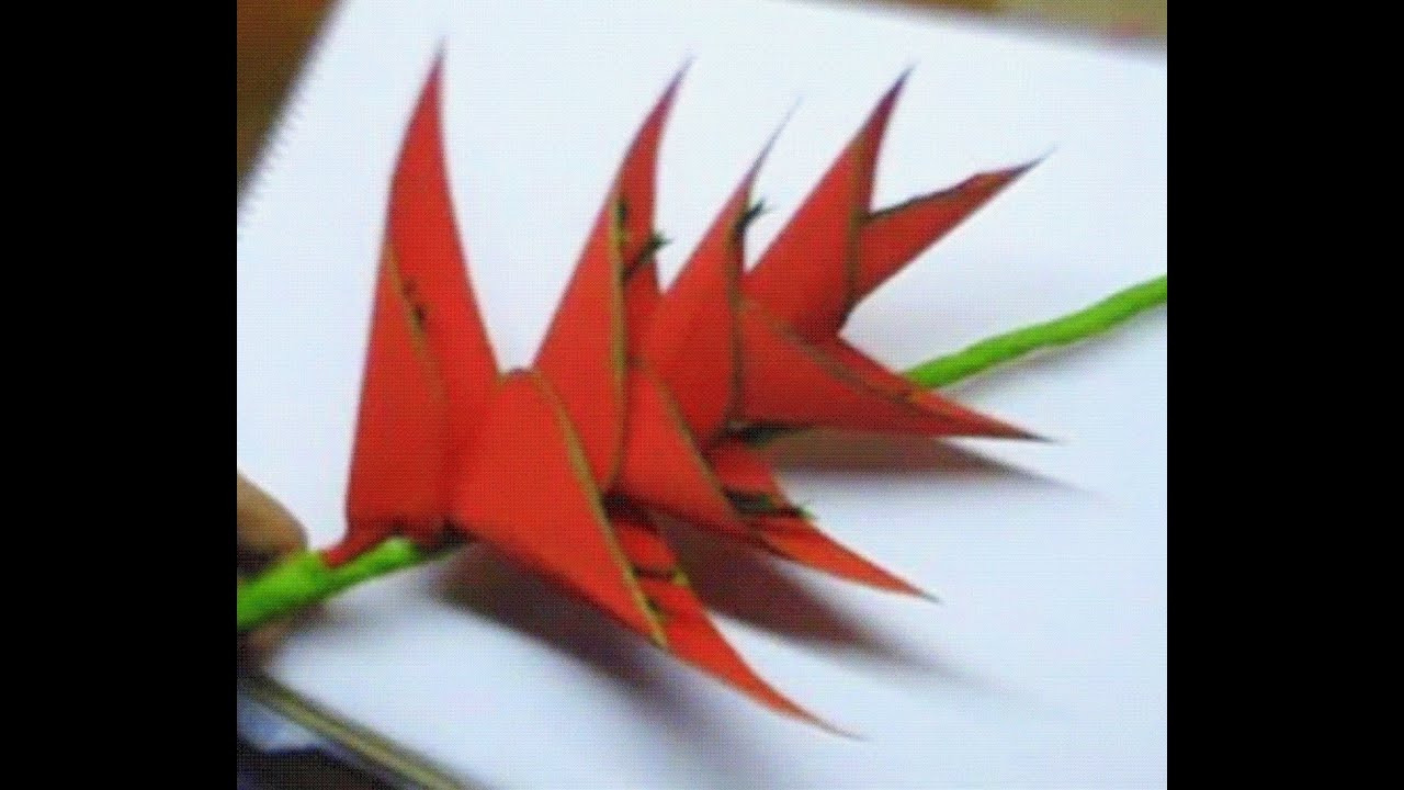 How to make Paper Flower Heliconia (Flower # 45) - YouTube