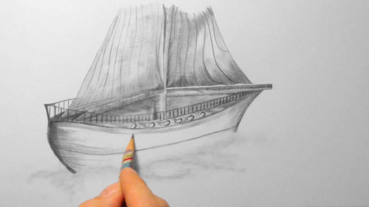 Segelschiff bleistiftzeichnung  kleines Schiff, zeichnen im Zeitraffer (small ship, drawing in ...