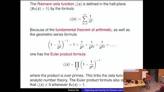 Terence Tao: Vaporizing and freezing the Riemann zeta function