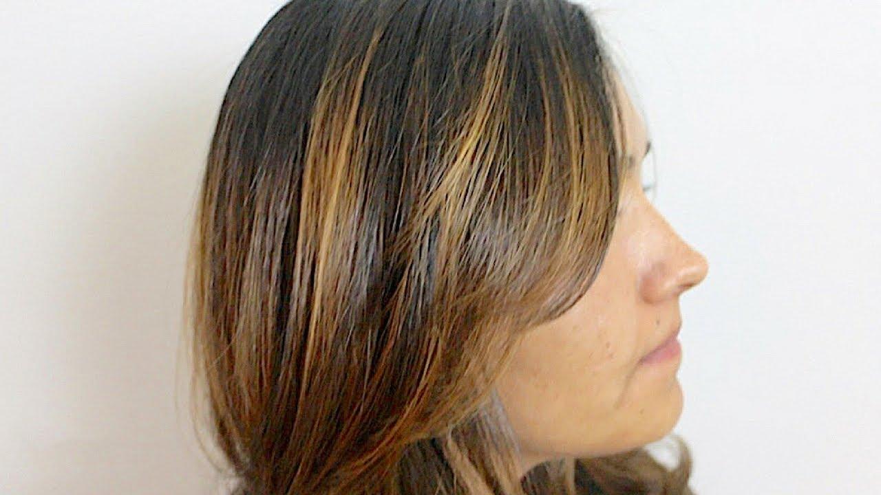 Brunette Balayaged Highlights Beginner Hand Painted Color