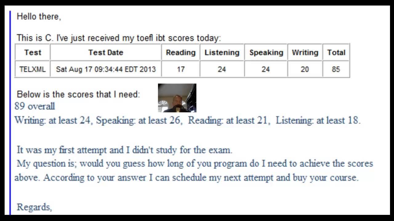 TOEFL score?